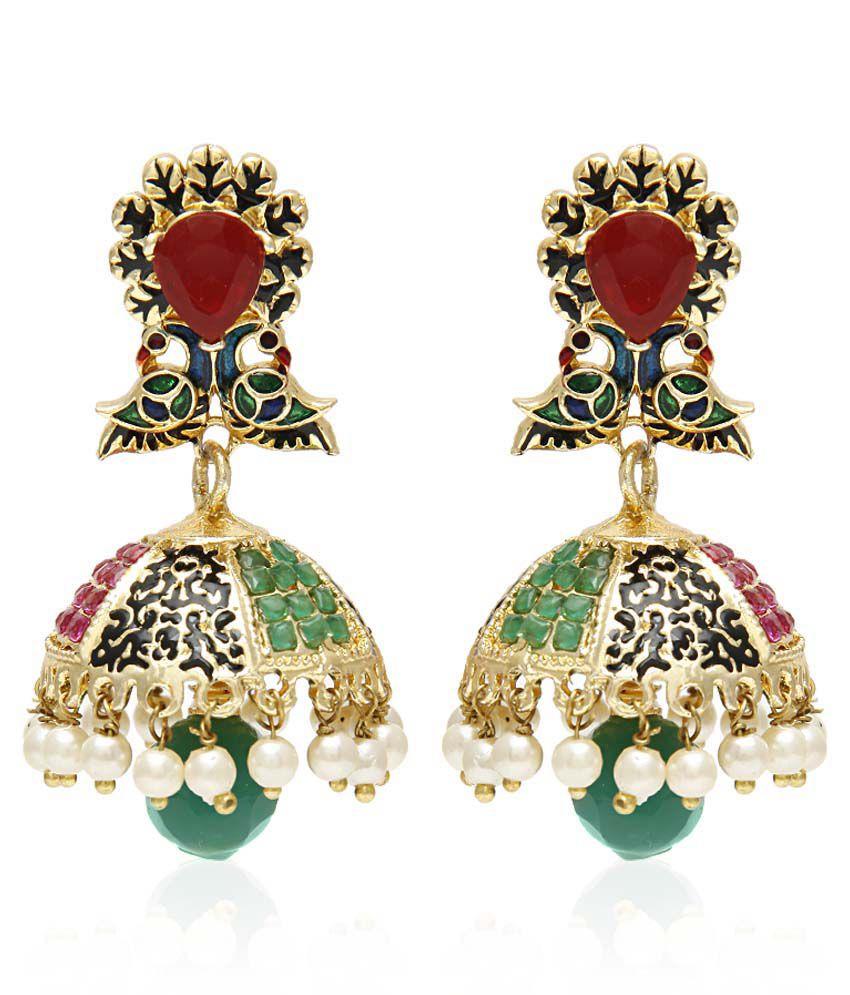 Jewels Galaxy Luxuria Collection Mayur Multicolor Jhumki Earrings