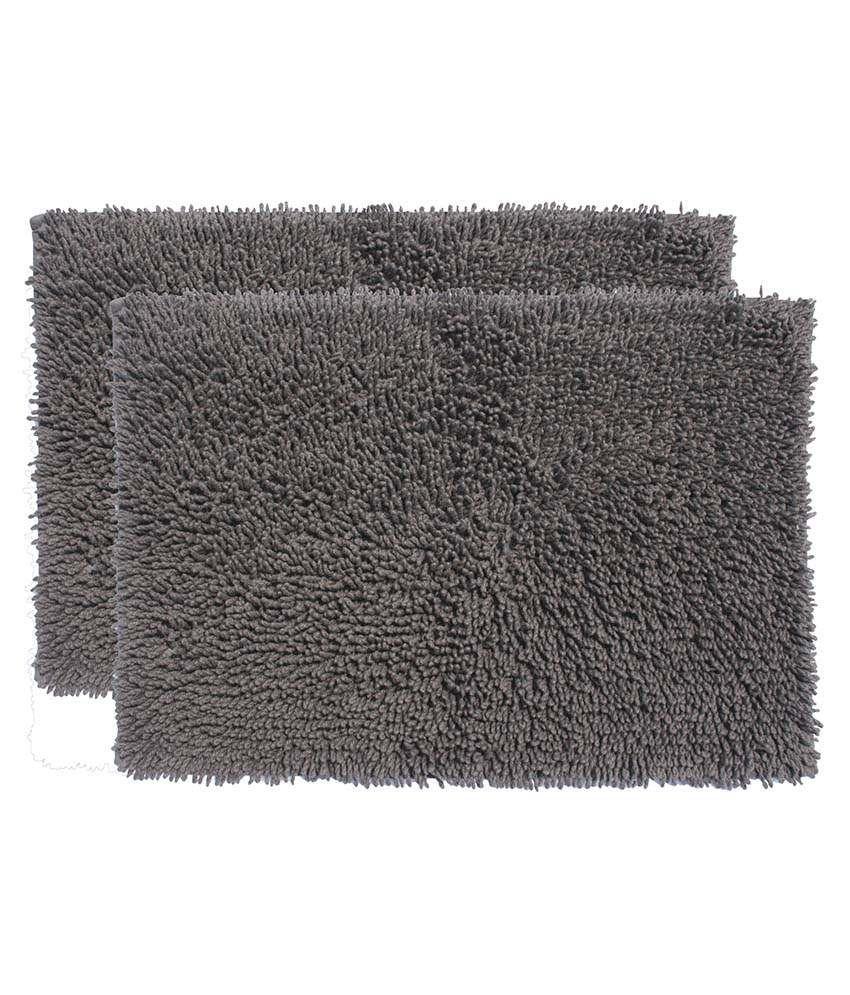 Riva Carpets Set of 2 Cotton Bath Mats - Gray