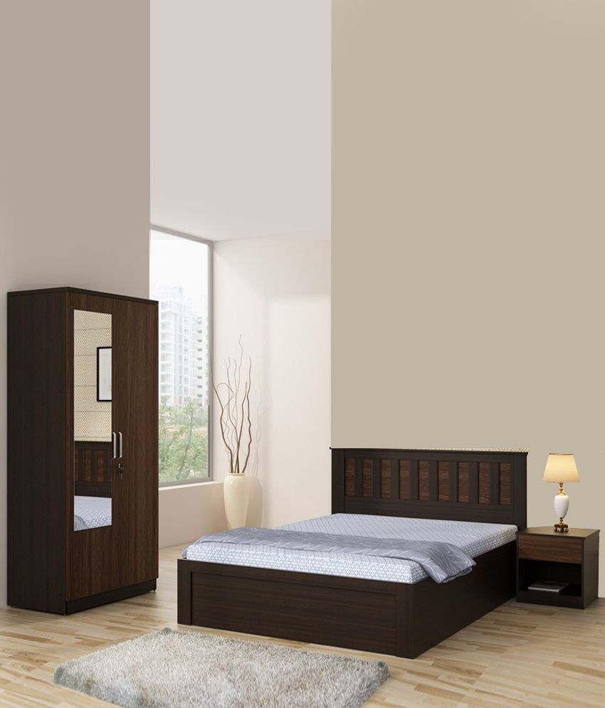 Spacewood Phoenix Bedroom Set Queen Bed Wardrobe With Mirror Side Table