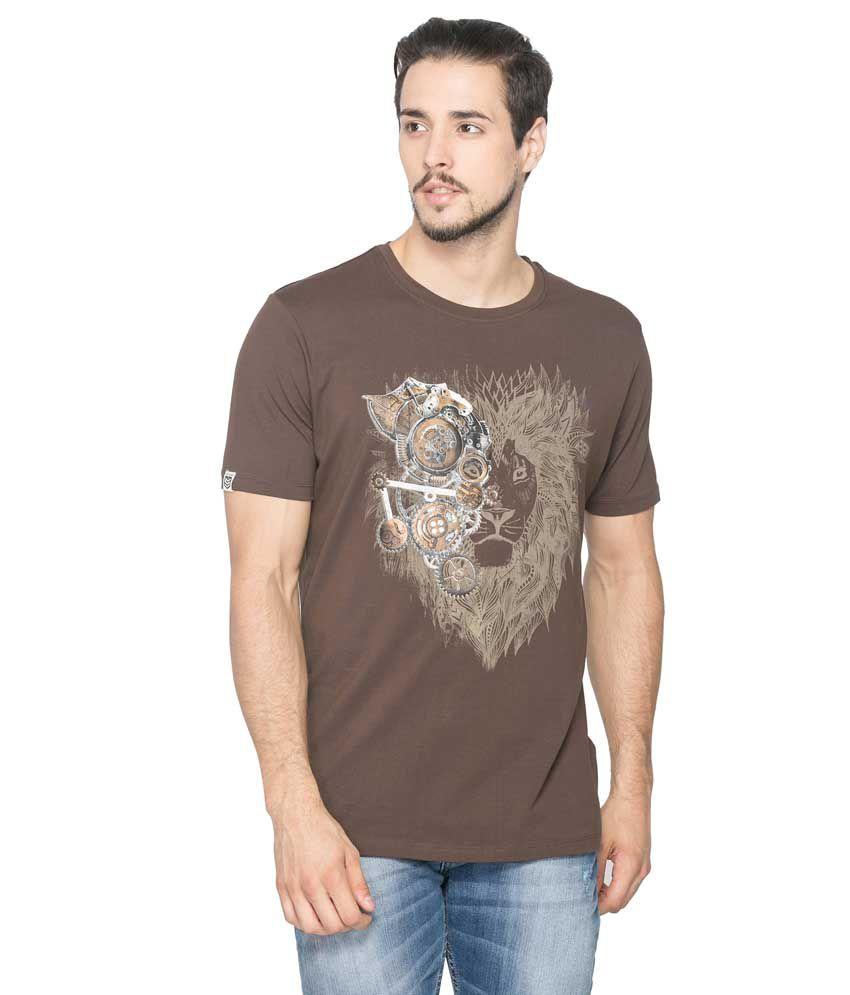 Spykar Brown Cotton T - Shirt