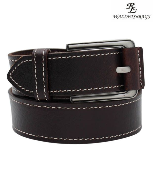 WalletsnBags Brown Leather Buckle Belt