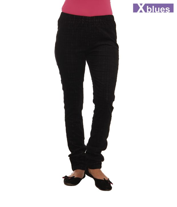 X-Blues Black Cotton Lycra Jeggings