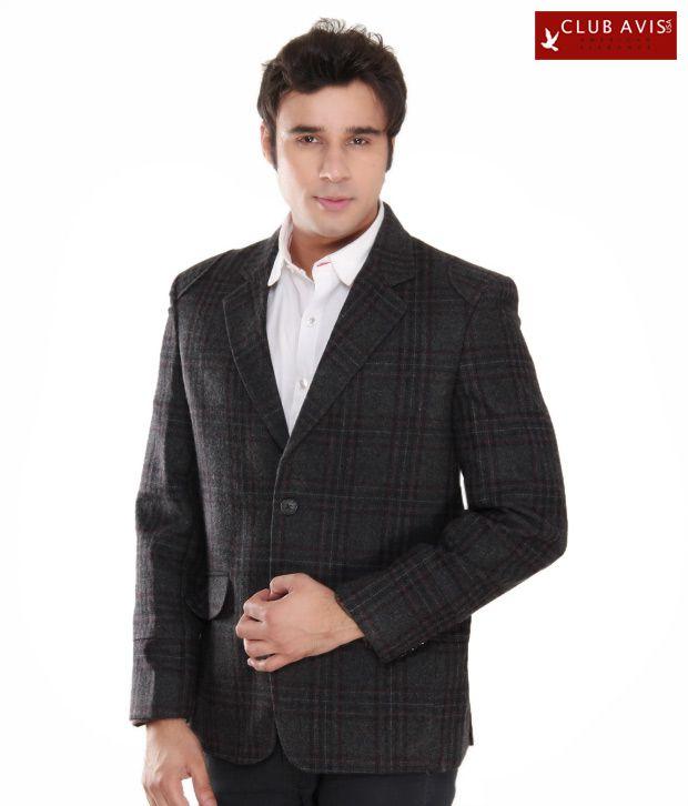 Club Avis USA Dark Grey Checkered Jacket