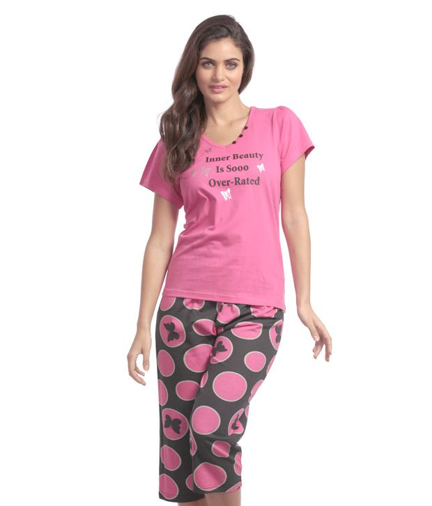 3c3bd72955f Buy Heart 2 Heart Fuschia Pink Capris Nightwear Set Online at Best Prices  in India - Snapdeal