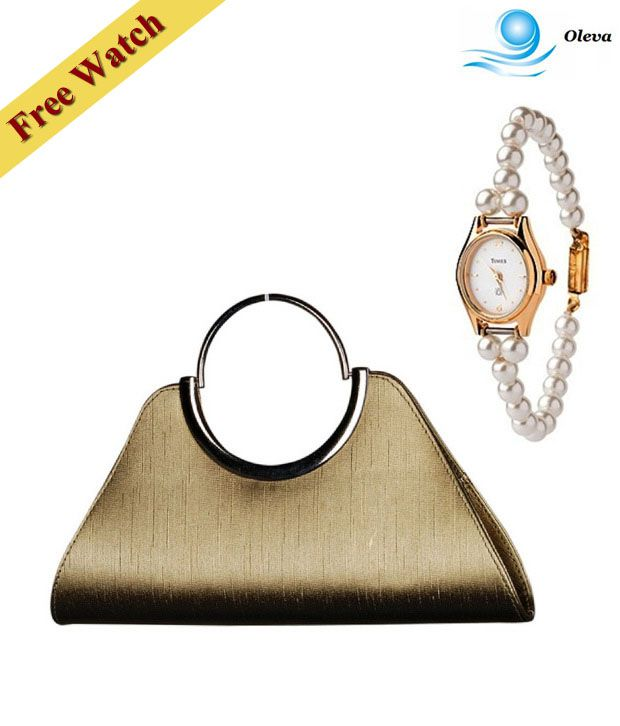 Oleva Golden Textured Finish Clutch With Free Women's Watch