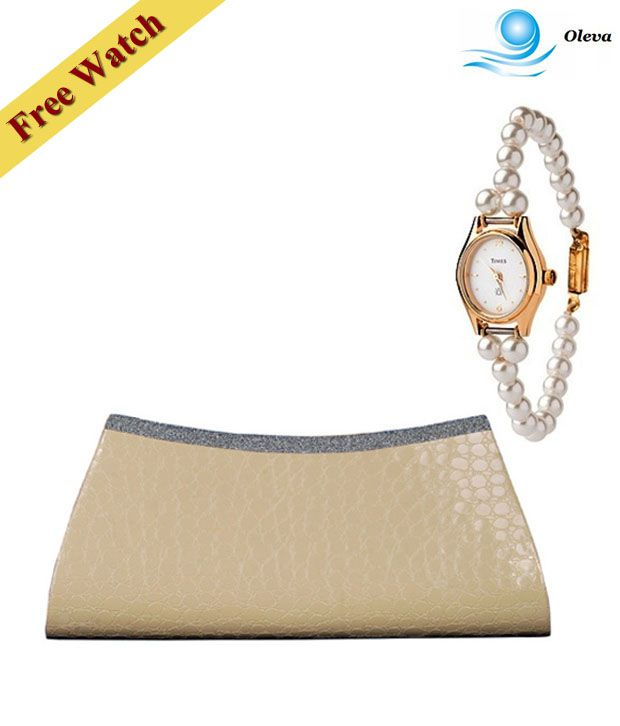 Oleva Light Brown Croc Print Shimmery Clutch With Free Women's Watch