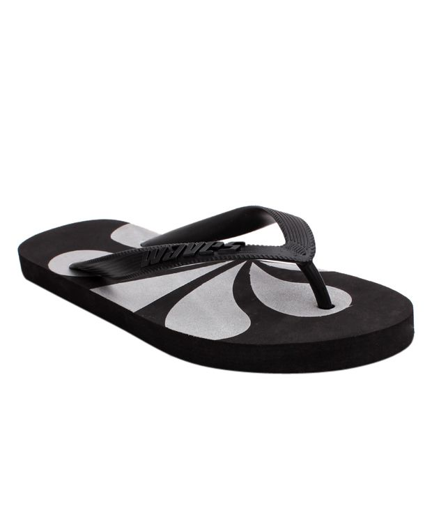 Waves Black & Silver Abstract Flip Flops