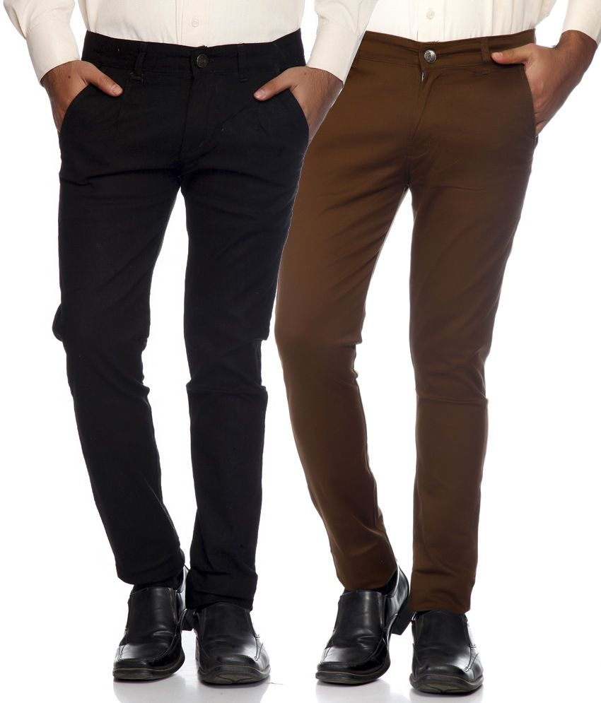 AVE Multicolor Slim Fit Formal Chinos Trouser - Pack Of 2