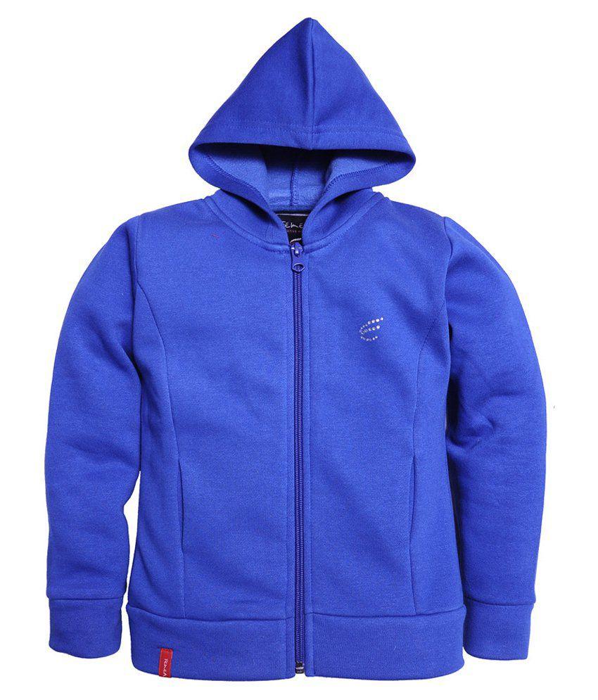 Femea Blue Hooded Sweatshirt For Girls