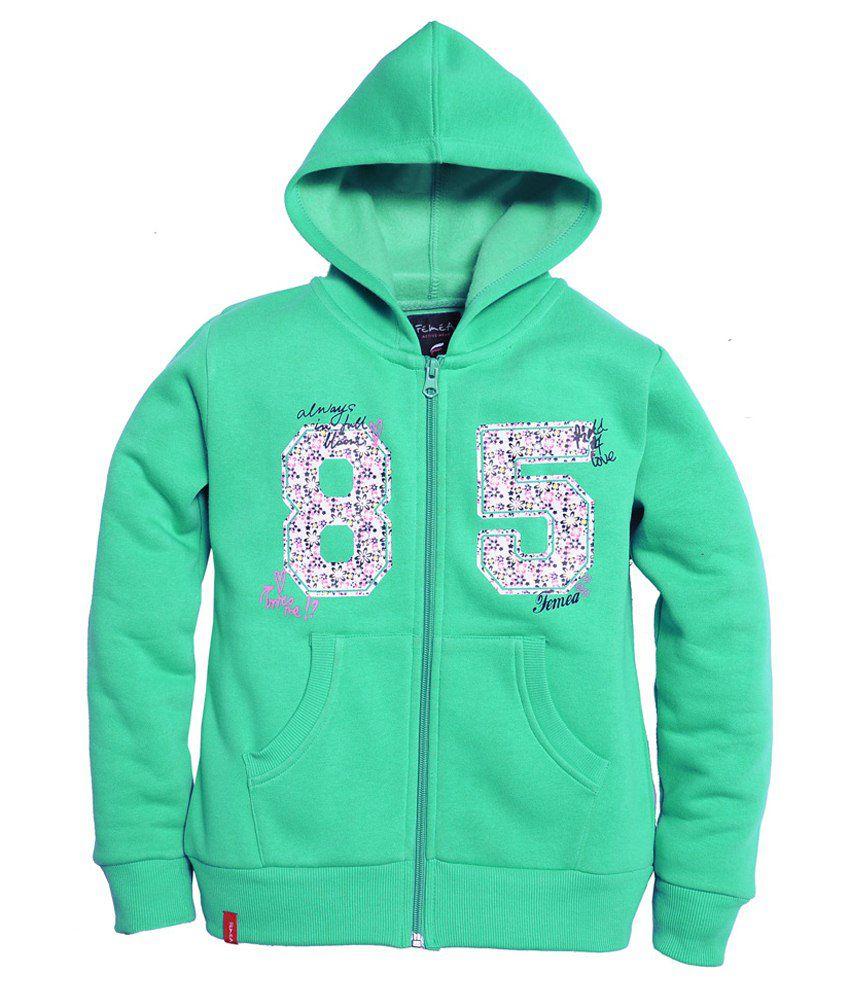 Femea Green Hooded Sweatshirt For Girls