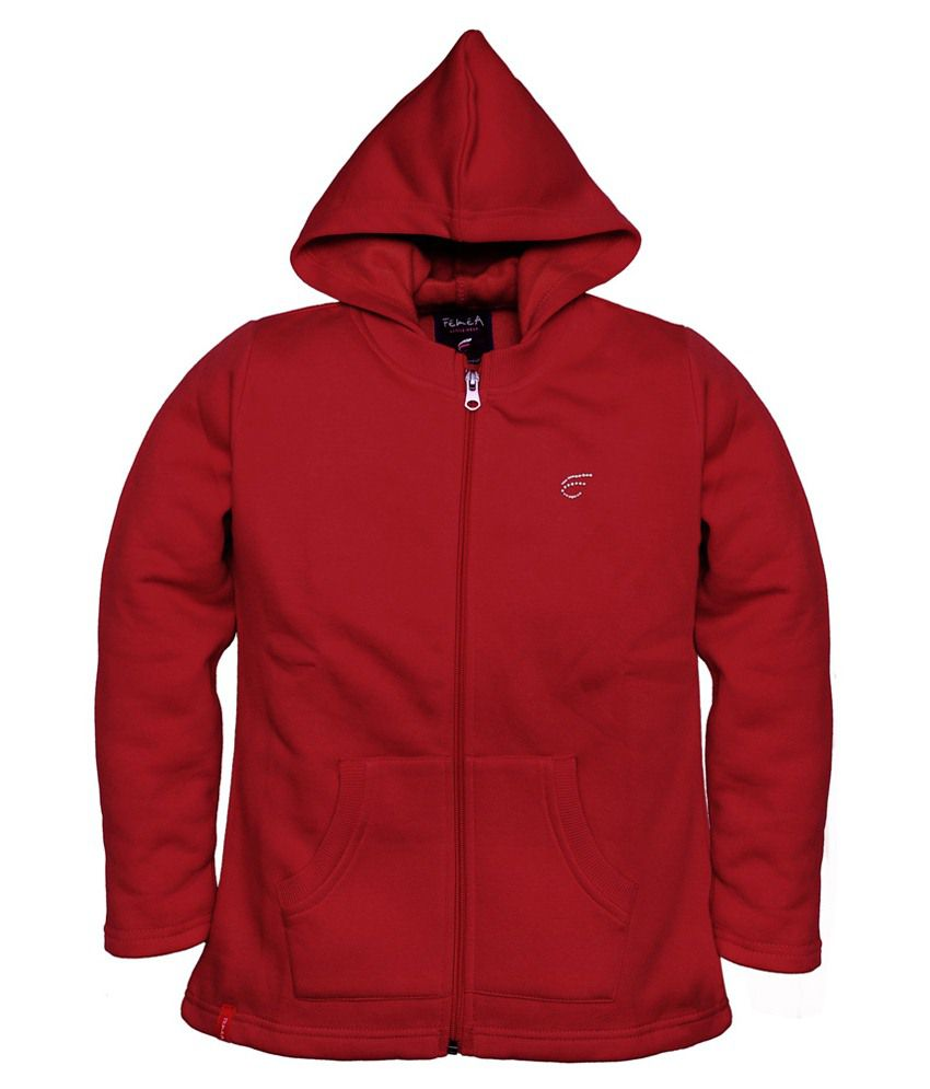 Femea Maroon Hooded Sweatshirt For Girls