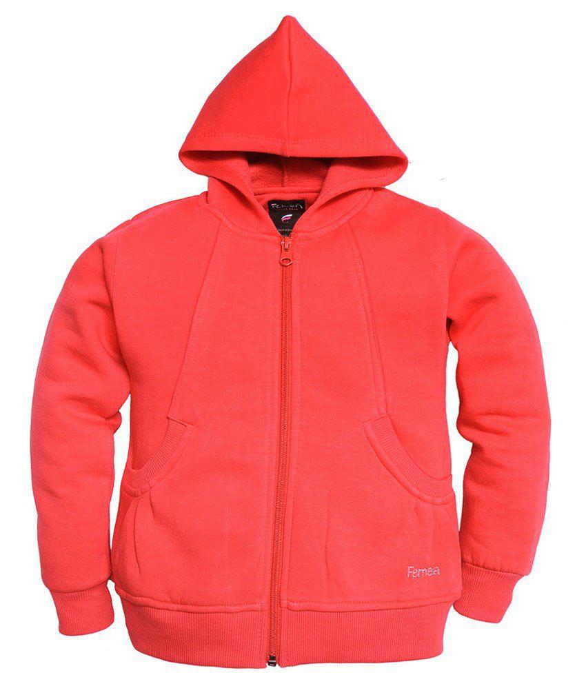 Femea Red Hooded Sweatshirt For Girls