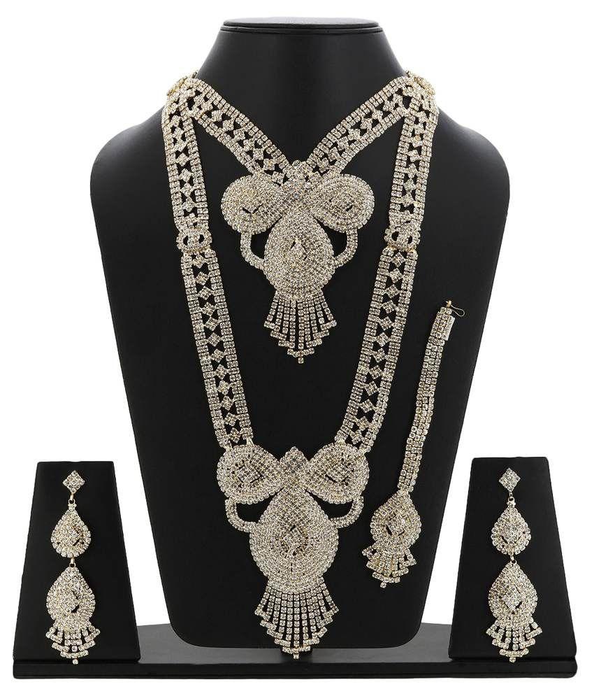Jai Shree Silver Alloy Bridal Necklace Set