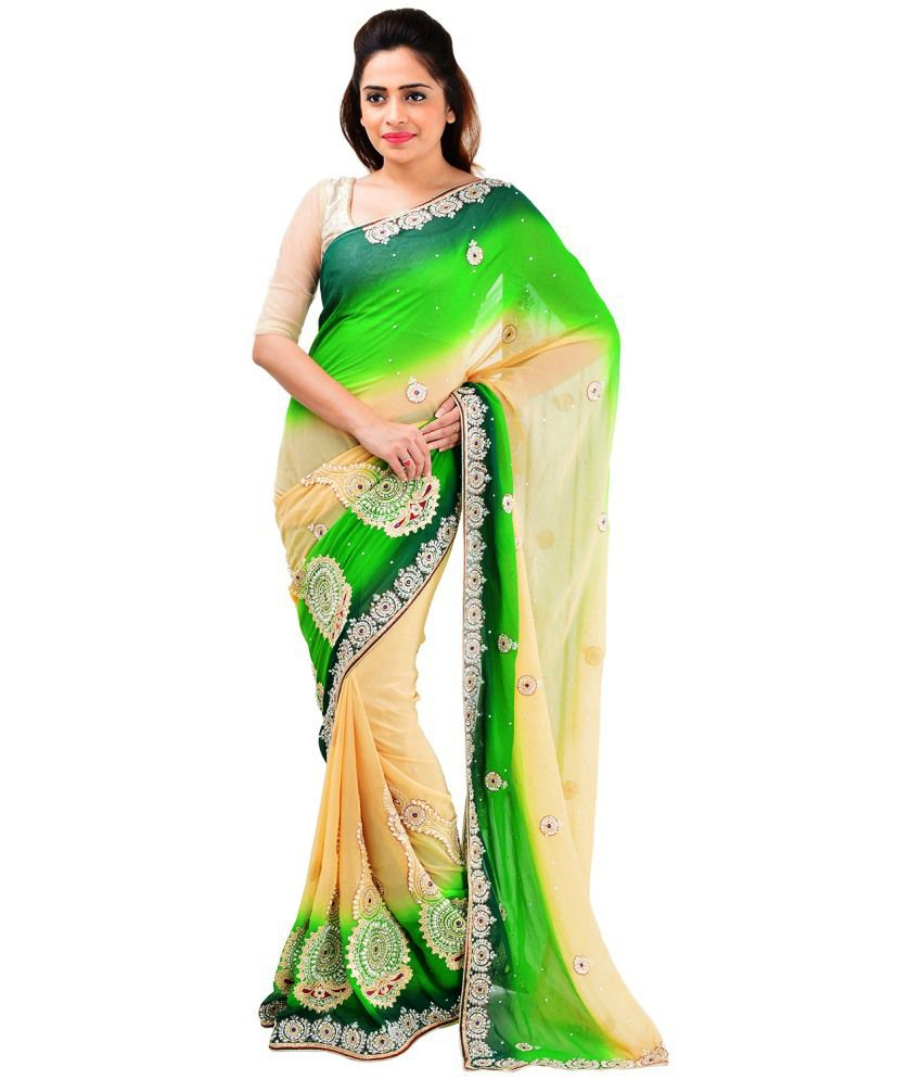 063c4157fe Prism Beige Faux Georgette Saree - Buy Prism Beige Faux Georgette Saree  Online at Low Price - Snapdeal.com