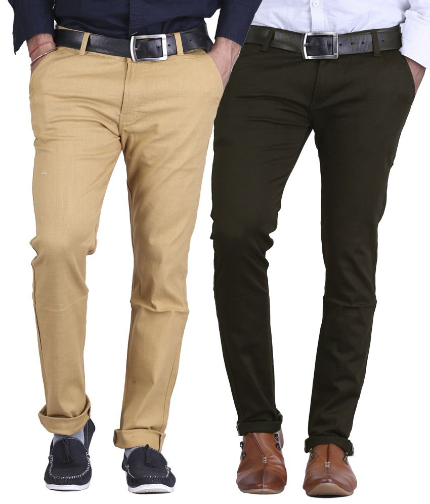 Ave Light Brown & Chocolate Brown Slim Fit Formal Chinos Trousers - Pack Of 2