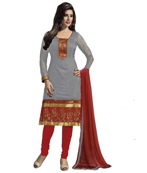 Khushali Black Chanderi Unstitched Dress Material