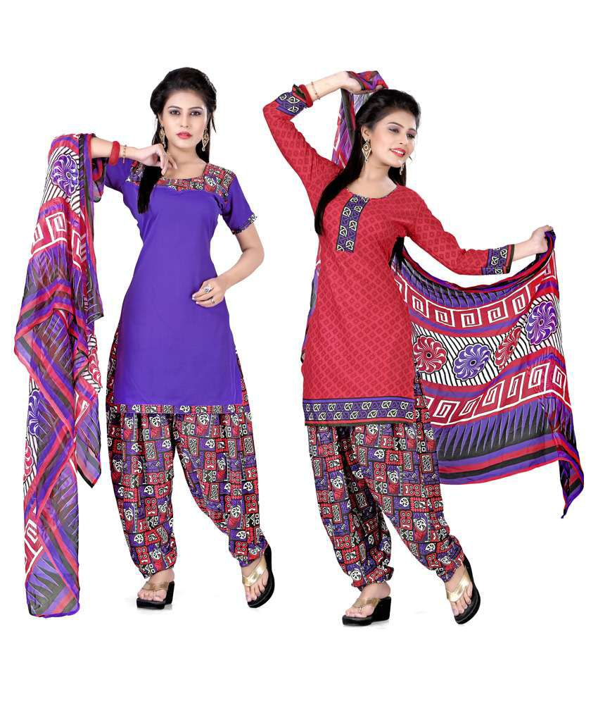 Lovely Look Purple Pure Crepe Unstitched Dress Material