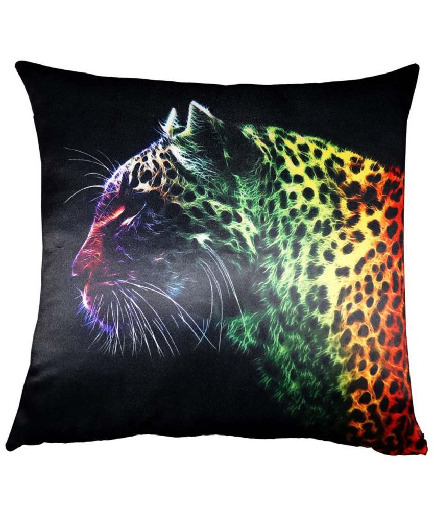 Lushomes Digital Printed Leopard Cushion Cover on Ultra Premium Whiteout Fabric