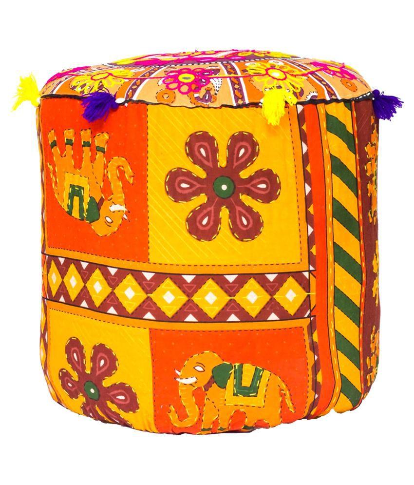 Rang Rohi Multicolour Fabric Rajasthani Mudda/ottoman/stool