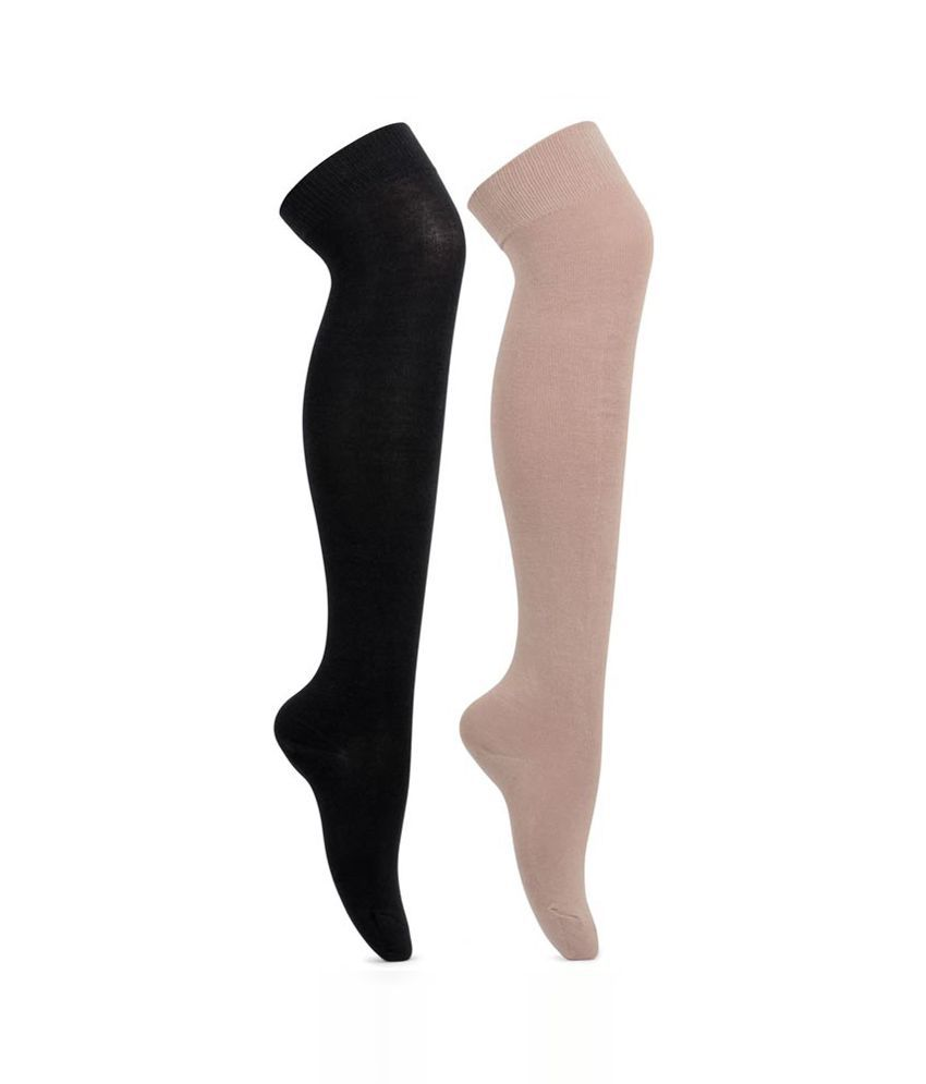 924a27fcd Bonjour Multicolor Knee Length Socks for Girls- Pack of 2  Buy Online at  Low Price in India - Snapdeal