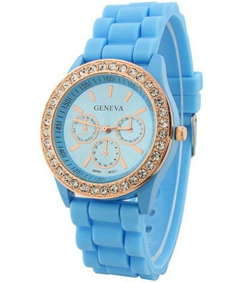 Женские часы силиконовые Geneva Luxury White белые
