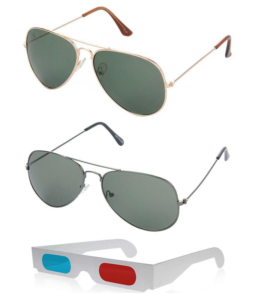 Hrinkar Hcmb108 Multicolor Aviator Sunglasses - Combo Of 3