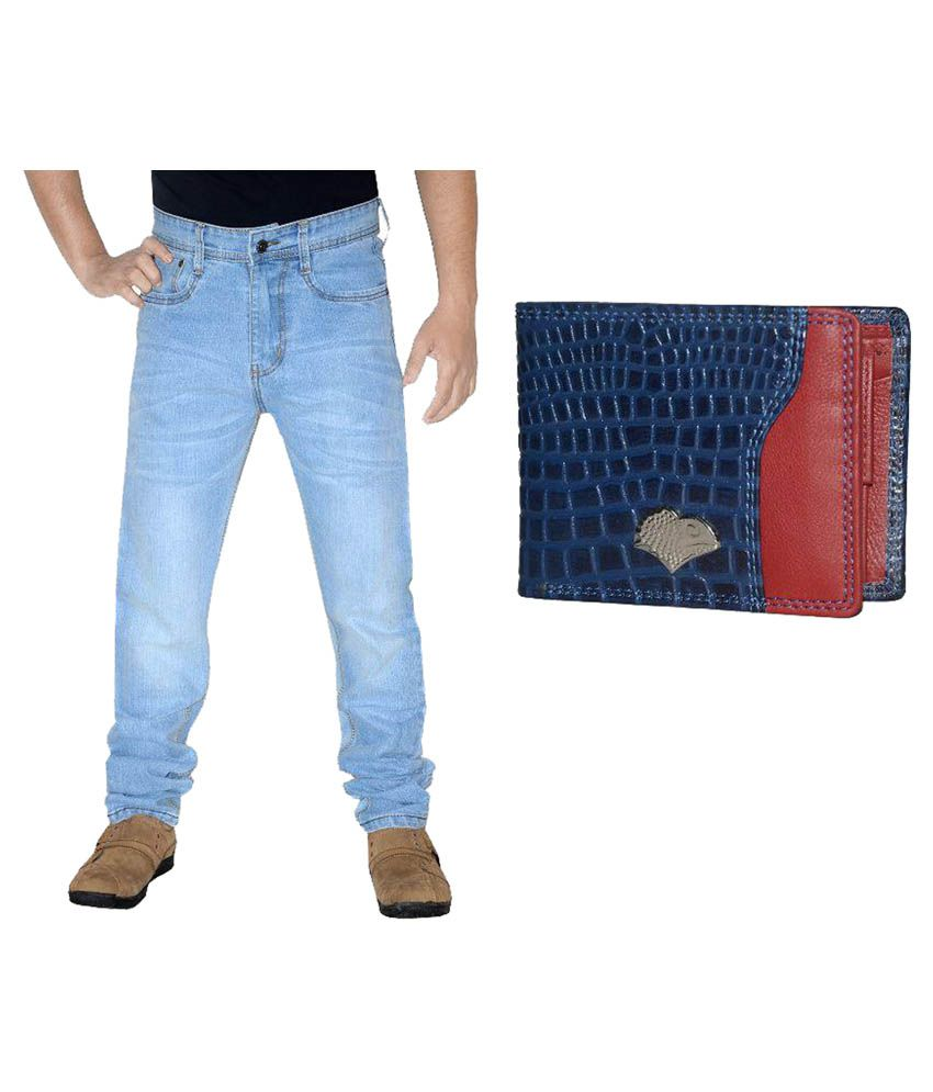 L,Zard Blue Regular Fit Jeans with Wallet