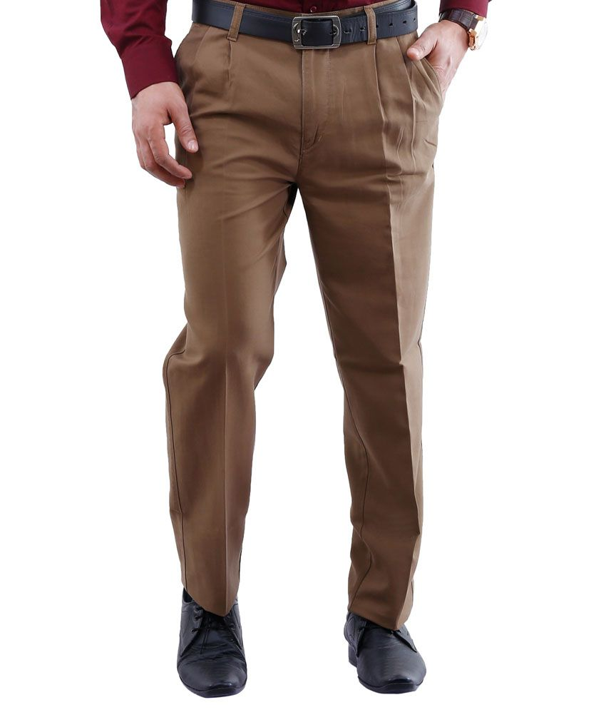 Lamode Khaki Regular Fit Casual Chinos Trouser