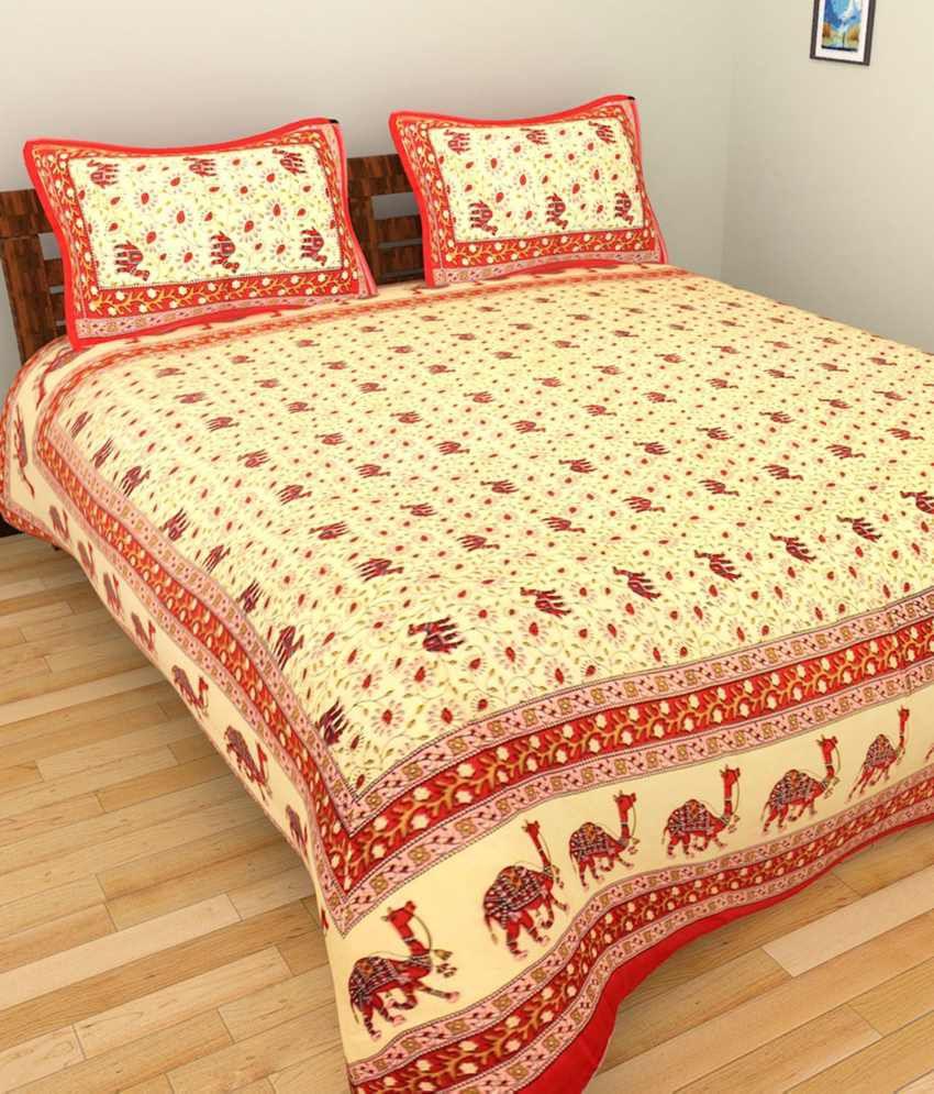 UniqChoice Multicolour Cotton Double Size Bed Sheet With 2 Pillow Covers