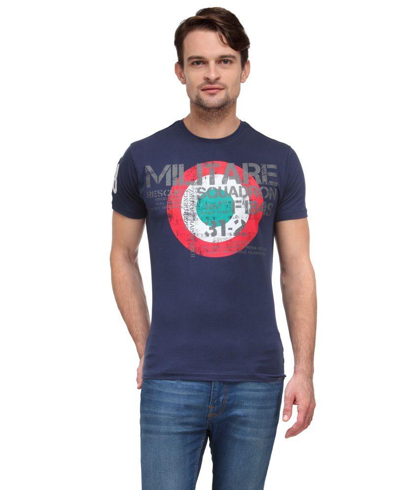 Wear Your Mind Navy Blue Cotton T Shirt