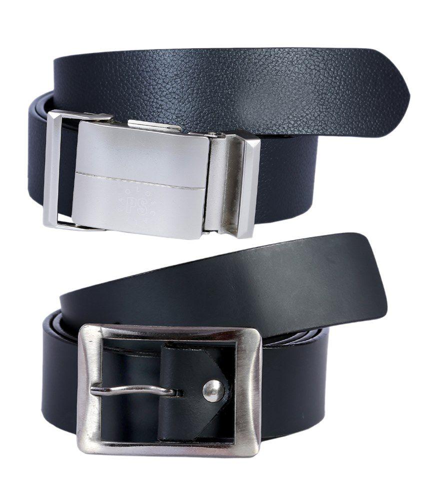 Hardy's Collection Black Belt For Men Pack Of 2