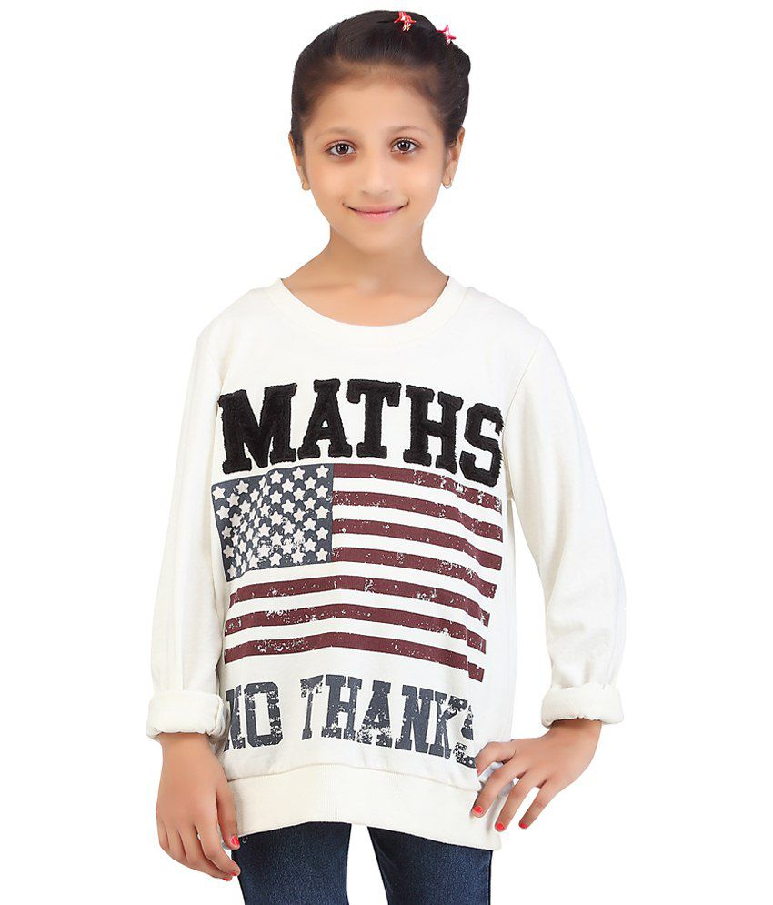 Life Youth White Printed Maths No Thanks Cotton Blend Sweatshirt
