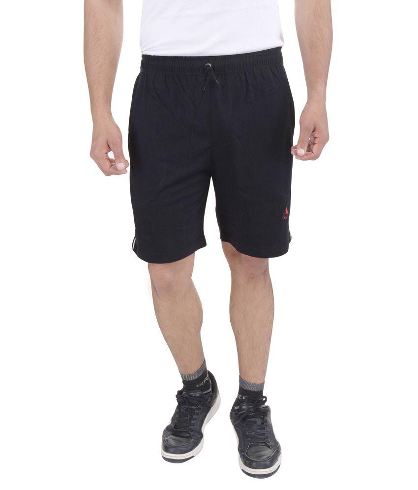 Lingo Black Cotton Blended Solid Shorts