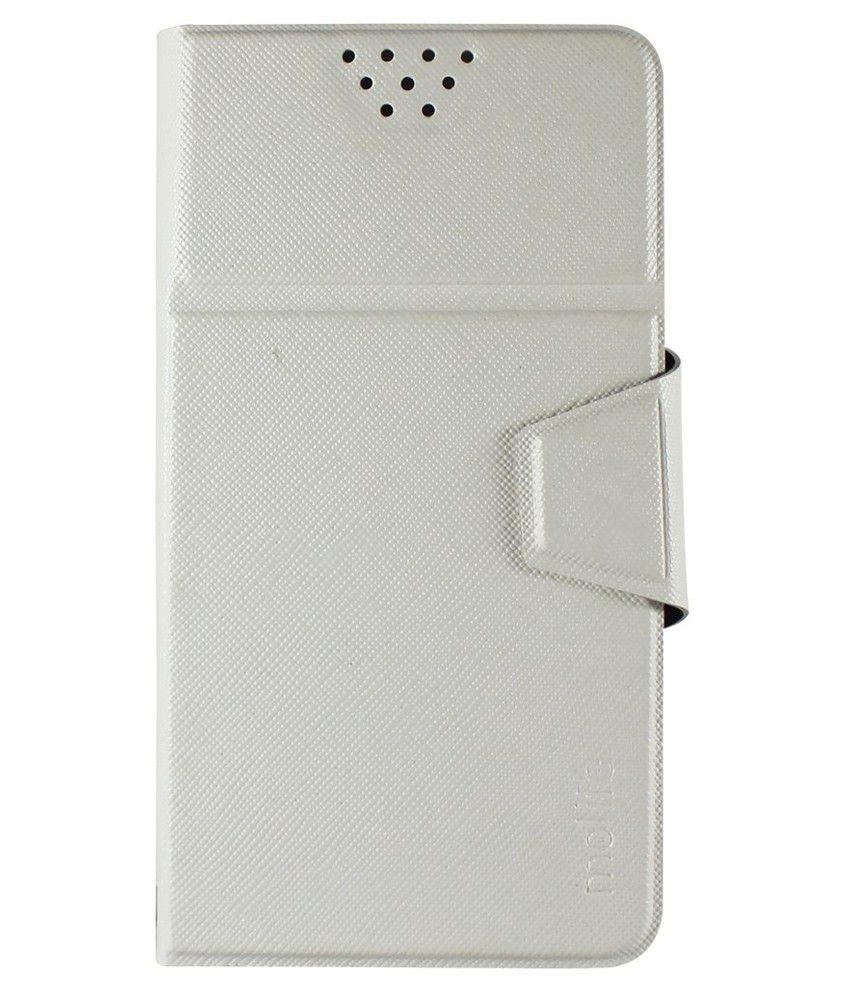 best service d6262 c678d Molife Universal Flip Cover For Lava Iris Fuel F1 - White