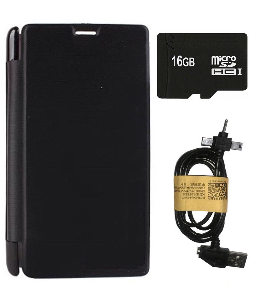 Aravstore Flip Cover For Sony Xperia Z4 With 16gb Memory Card And 3 In 1 Cable - Black