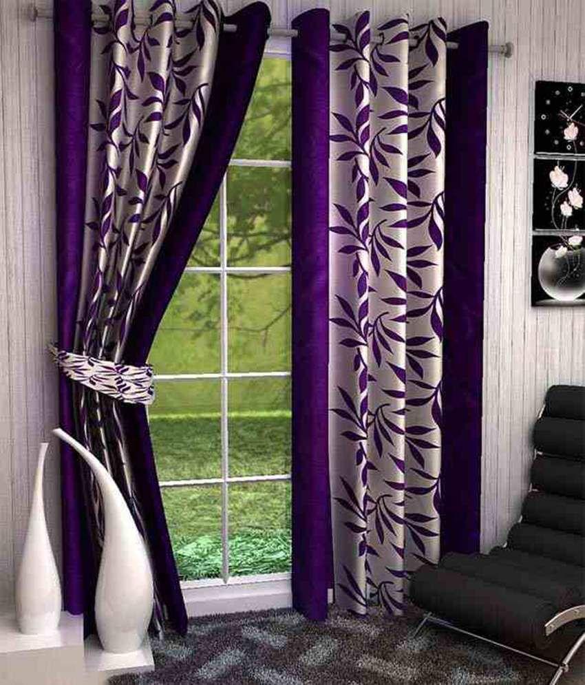 Bsb Trendz Purple U0026 White Polyester Window Curtains Set Of 2 Floral Purple