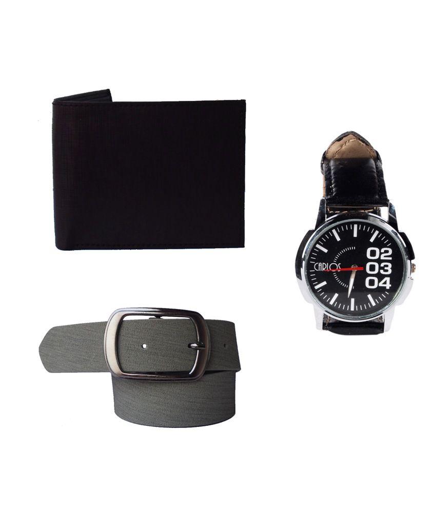 Klaska Leather Brown Wallet, Black Belt And A Wrist Watch For Men