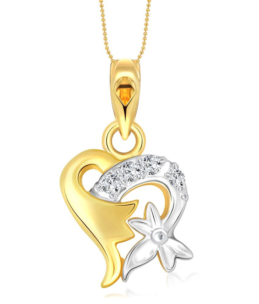 Vighnaharta Sweet Flory Heart CZ Gold and Rhodium Plated Pendant