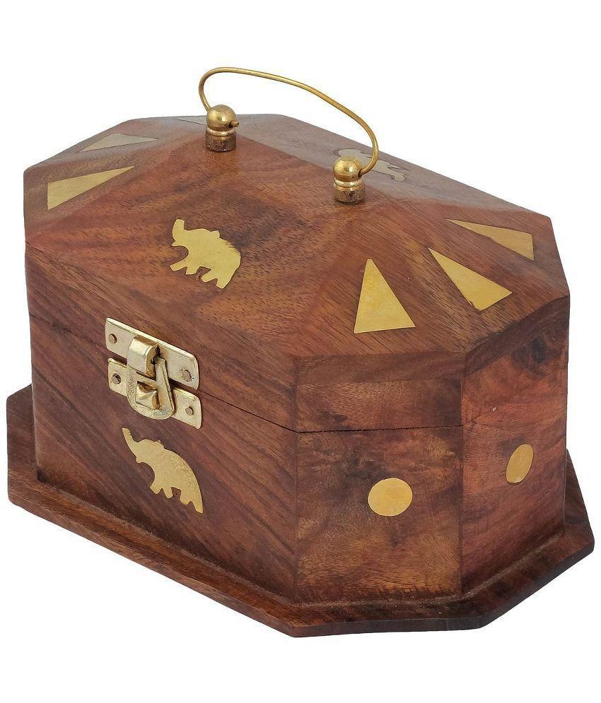 Zitter Brown and Golden Wooden Antique Jewellary Pinjra Box