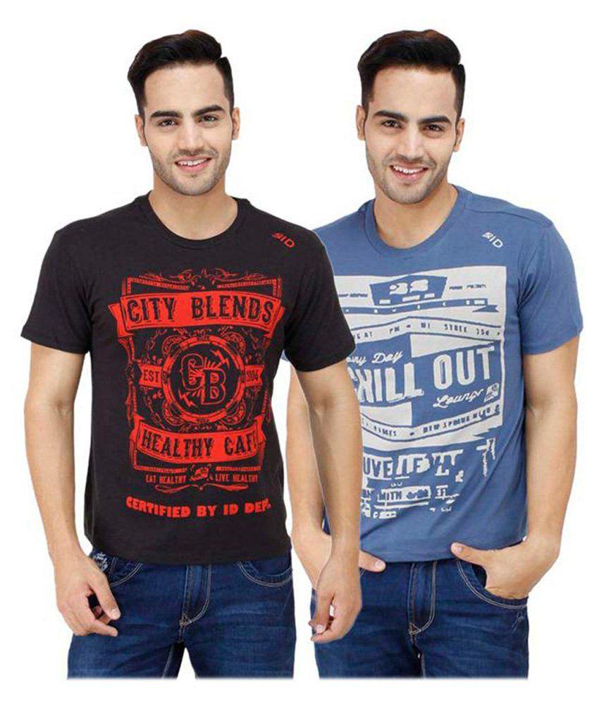Inkdice Black & Blue Cotton T-shirt Pack Of 2