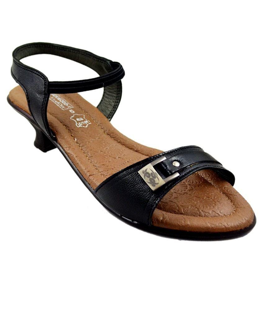 Leather Wood 1 Black Heels