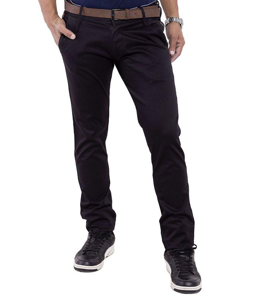 Pure Grade Black Slim Fit Casuals Flat Trouser