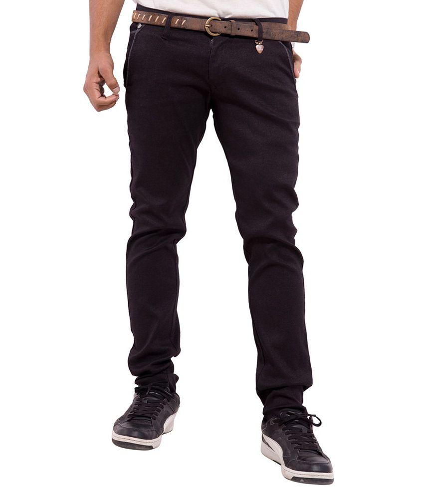 Pure Grade Brown Slim Fit Casuals Flat Trouser