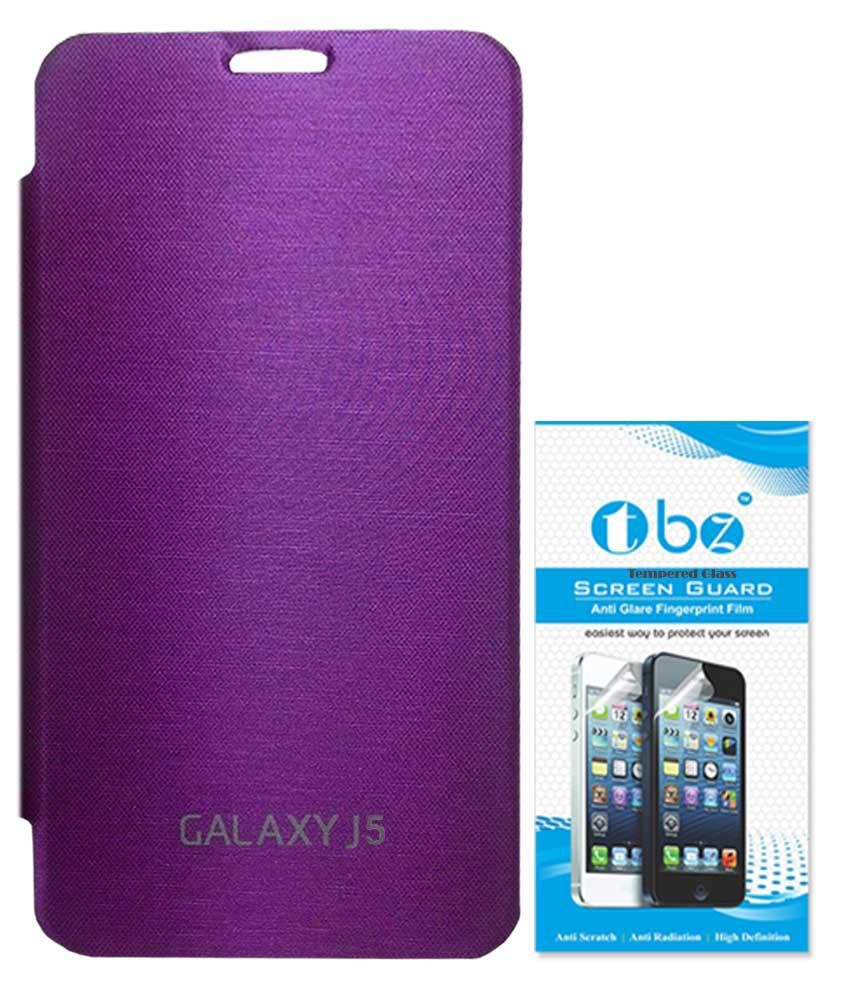Tbz Flip Cover Case For Samsung Galaxy J5 With Tempered Screen Guard - Puple