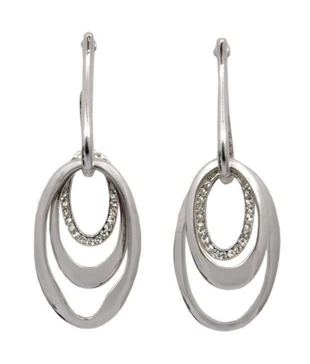 Royal Silver Alloy Hoop Earrings