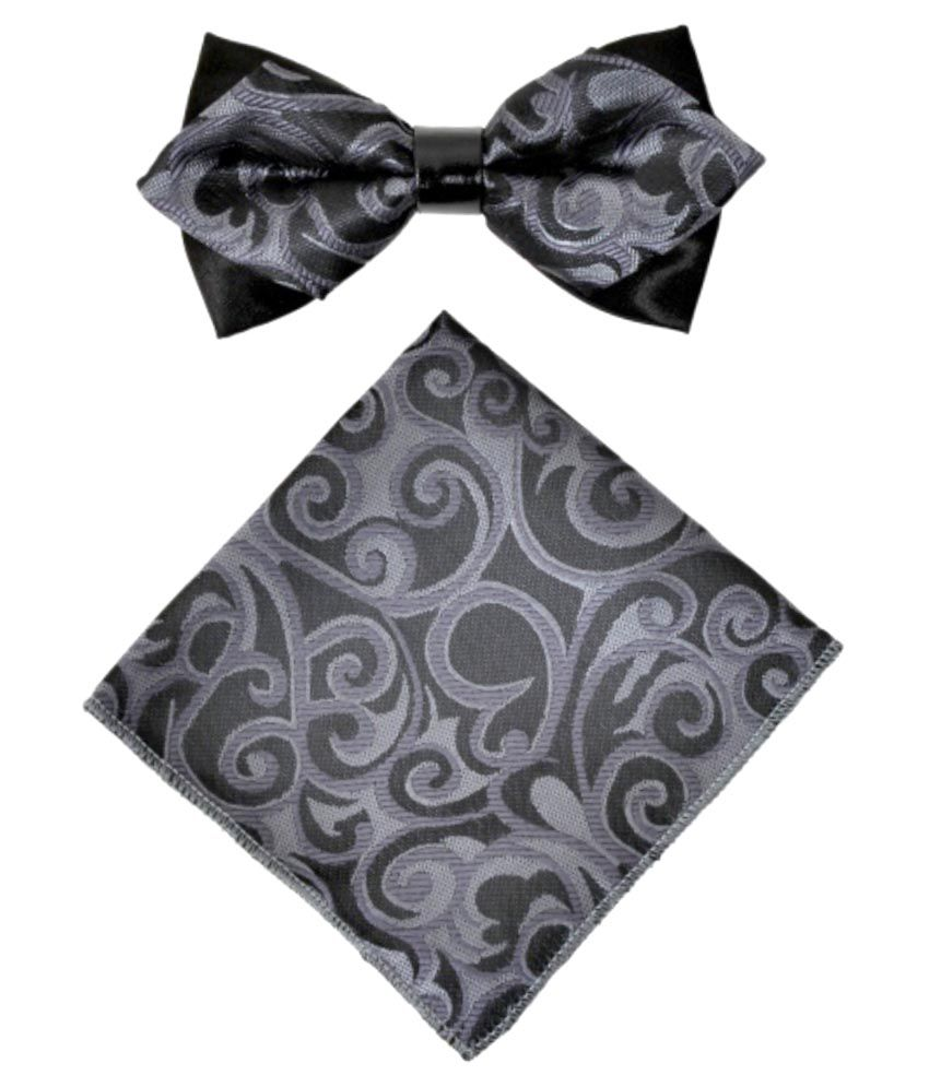 Classique Gray Micro Fiber Formal Combo Of Bow Tie And Pocket Square