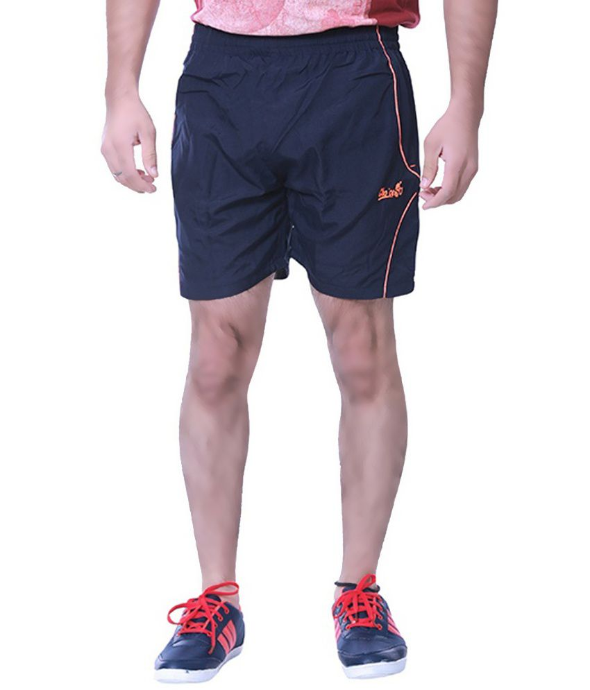 Choice4u Navy Polyester Solid Sports Shorts