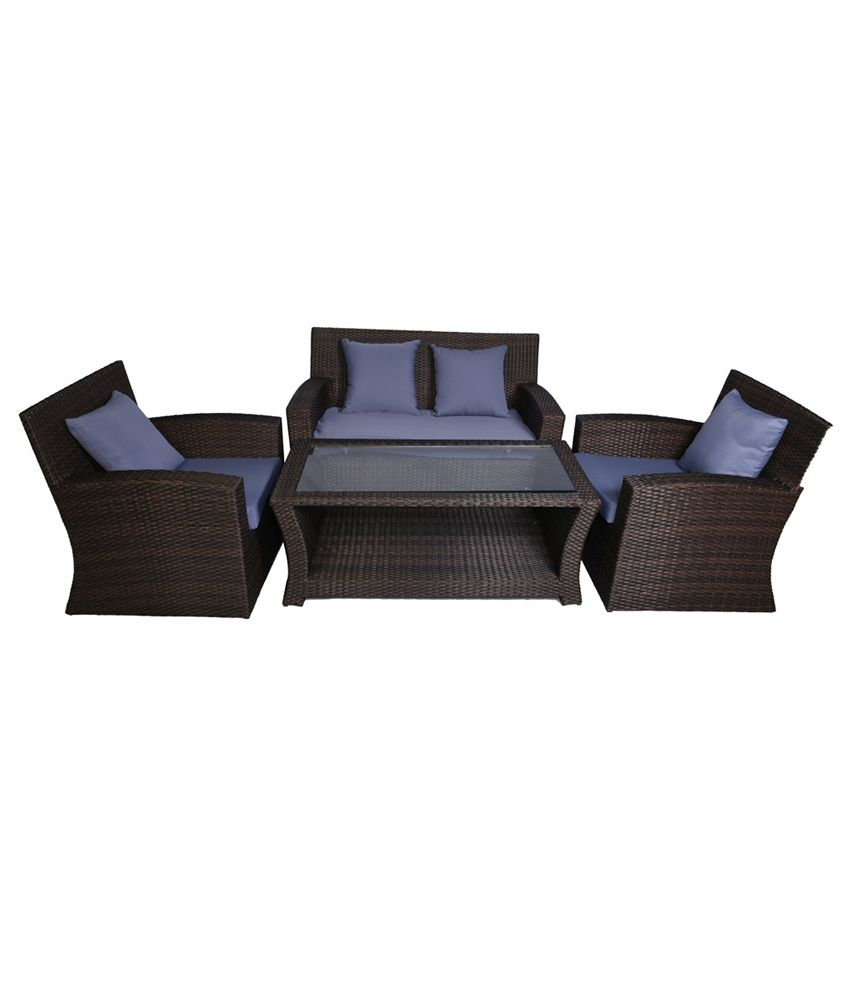 Cane Sofa Set Price In Delhi: Greenwood Outdoor 2+1+1 Sofa Set With Centre Table Best