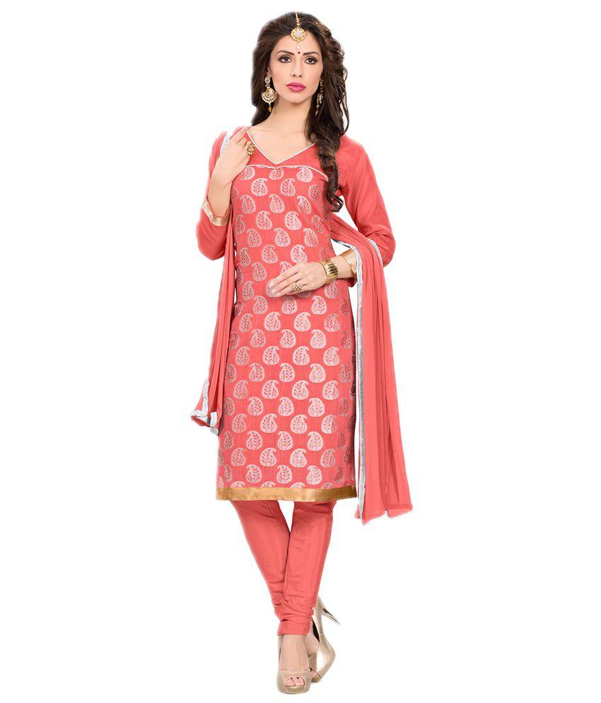 Ethnicjunction Pink Silk Unstitched Dress Material