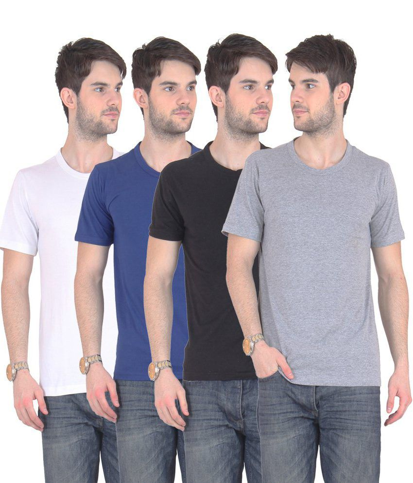 Fnme Multicolor Cotton Blend T-shirt - Pack Of 4